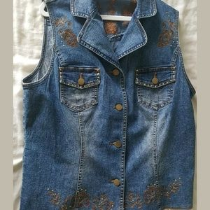 CLEARANCE!! Embroidered denim vest